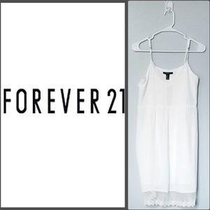 Forever 21 White Sem-Sheer Midi Dress Size: Medium